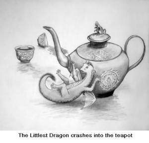 Littlest Dragon and teapot